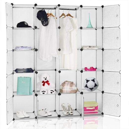 Steckregal mit 12 Kunststoffboxen und 2 Kleiderstangen Weiß
