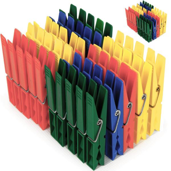 100x Wäscheklammern Kunststoff in 4 Farben