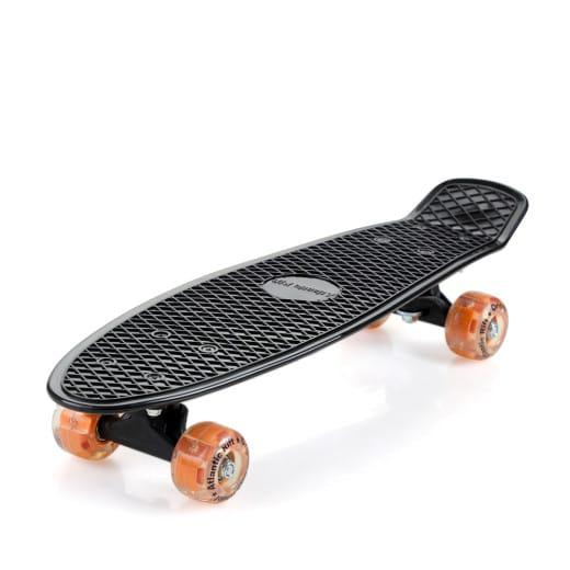 Retro Skateboard Schwarz/Orange mit LED