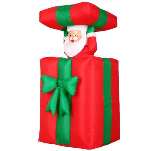 Weihnachtsmann im Geschenk - aufblasbare Deko