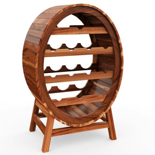 Weinregal für bis zu 12 Flaschen im stilvollen Weinfass Design Holz