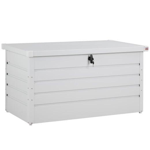 Abschließbare Auflagenbox Weiß Metall