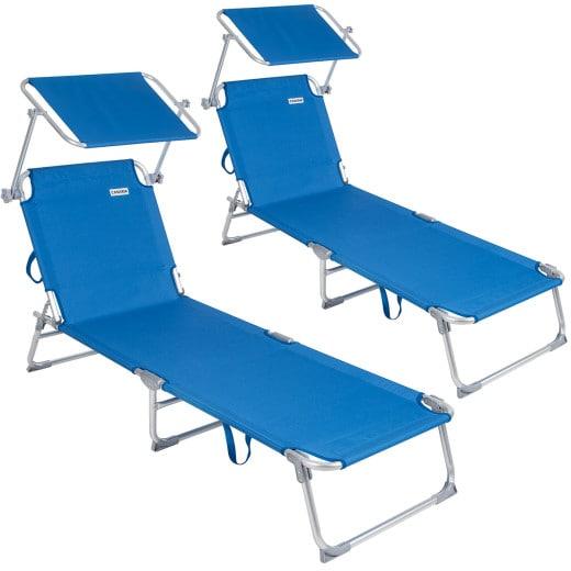 Sonnenliege Ibiza 2er-Set Blau Alu mit Sonnendach