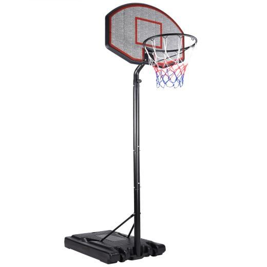 Mobiler Basketballkorb mit Rollen - verstellbare Korbhöhe 205 - max. 305cm