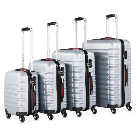 Koffer Hartschale 4 tlg. Silber S/M/L/XL aus ABS 34l, 55l, 84l, 120l