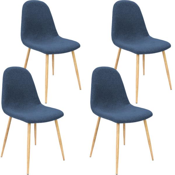 4er-Set Design Stuhl in Dunkelblau Stoffbezug