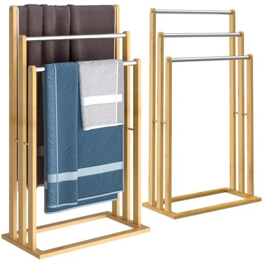 Bambus-Handtuchhalter mit 3 Edelstahlstangen
