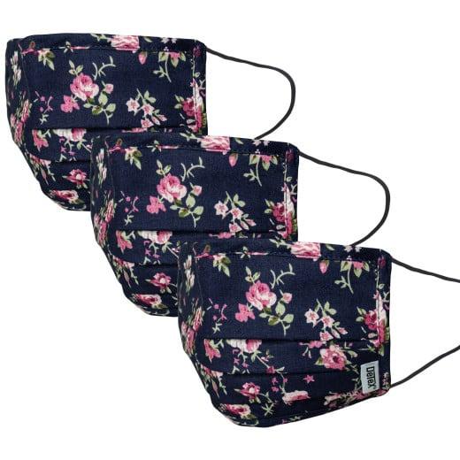 Mund-Nasen-Maske 3er-Set Blau-Blumen 100% Baumwolle