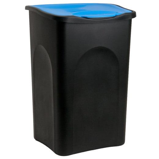Mülleimer Schwarz/Blau Kunststoff 50L