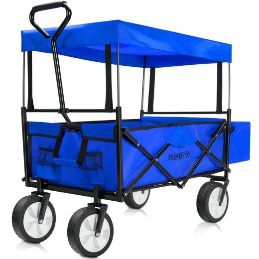 Bollerwagen Blau mit abnehmbarem Dach faltbar