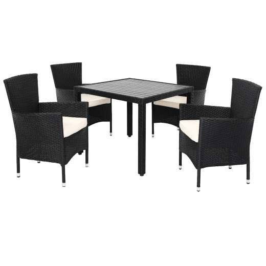 Polyrattan Tisch, 4 Stühle mit Sitzkissen