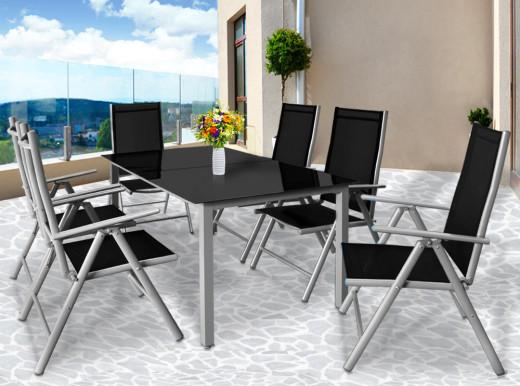 Alusitzgruppe, Tisch und 6 Stühle