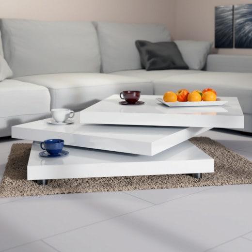 Couchtisch New York Weiß 76x76cm verstellbar