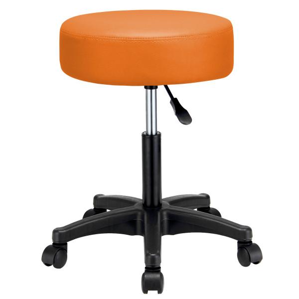 Rollhocker Kunstleder in Orange 360° drehbar