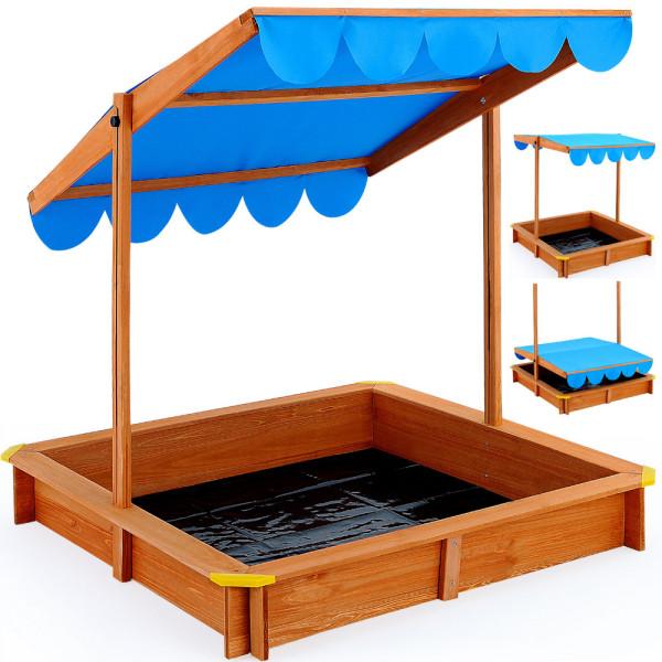 Sandkasten Deluxe 120x120cm - Sonnendach höhenverstellbar