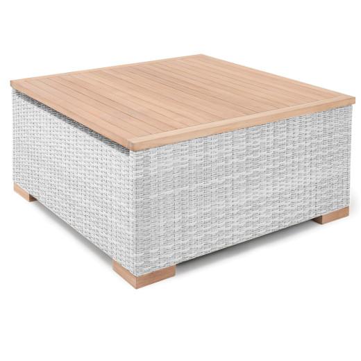 Polyrattan Tisch Havanna Weiß/Grau