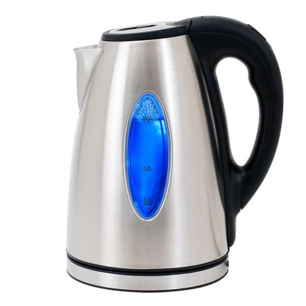 Wasserkocher Edelstahl mit blauer LED-Beleuchtung 2200W 1,7l Schwarz-Silber