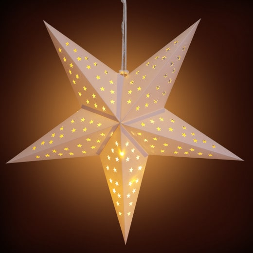Papierstern LED Creme Ø60cm 5 Arme