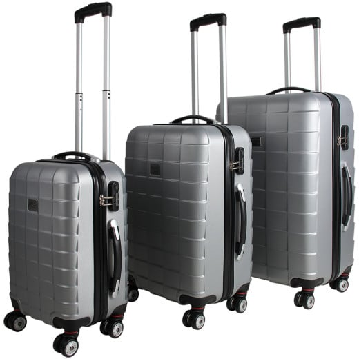 Kofferset Hartschale 3 tlg. Silber M/L/XL aus ABS 36l, 59l, 89l