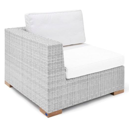 Polyrattan Eck-Modul Havanna Weiß/Grau