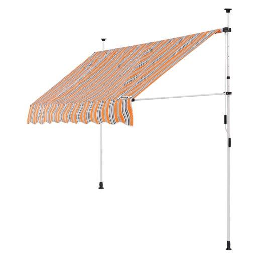 Klemmmarkise Orange/Schwarz/Weiß 200cm