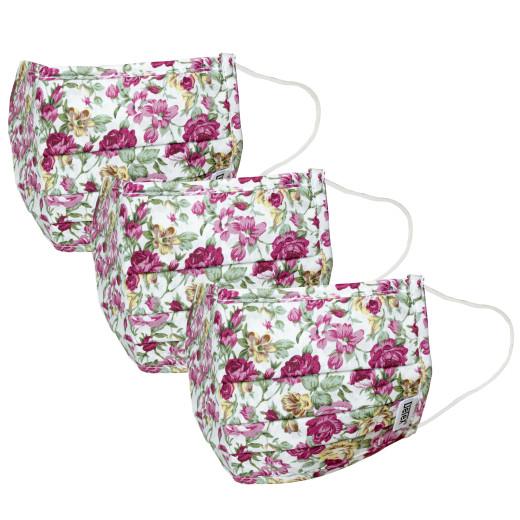 Mund-Nasen-Maske 3er-Set Weiß-Blumen 100% Baumwolle
