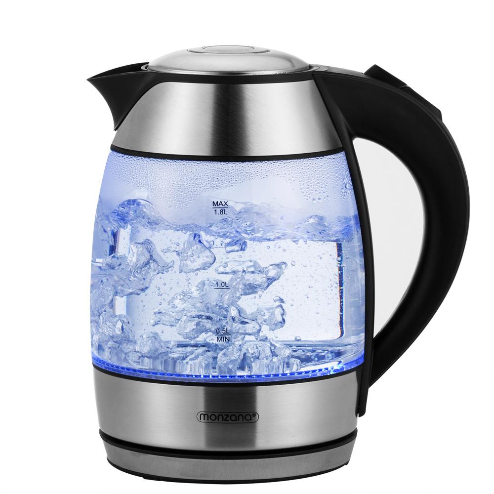 1,8Liter Edelstahl Design Wasserkocher 2200 W 360° drehbare Basisstation silber