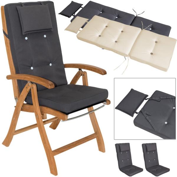 6x Stuhlauflage für Hochlehner Vanamo 7cm + 6 Knöpfe Grau