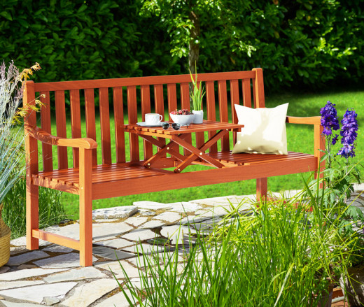 Gartenbank Picknick mit Tisch, Eukalyptus, FSCzertifiziert