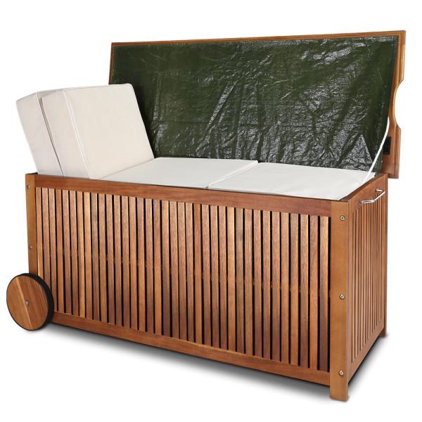 Auflagenbox Akazienholz mit Rädern und Innenplane