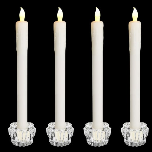 4er-Set Stabkerzen mit Kerzenhalter