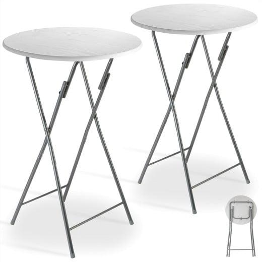 Stehtisch 2er-Set Weiß Holzdekor 60cm klappbar