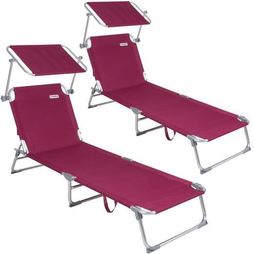 Sonnenliege Ibiza 2er-Set Rot Alu mit Sonnendach