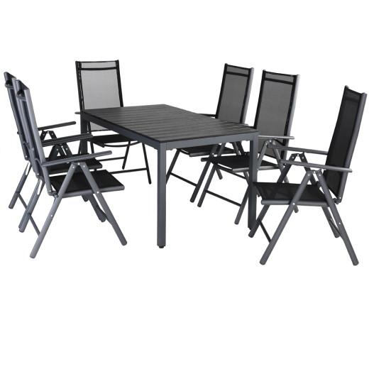 Sitzgruppe Bern 7-tlg. Anthrazit Alu mit WPC Tischplatte