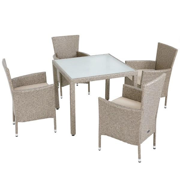 Polyrattan Tisch mit Milchglasplatte, 4 Polyrattanstühle beige und Sitzkissen