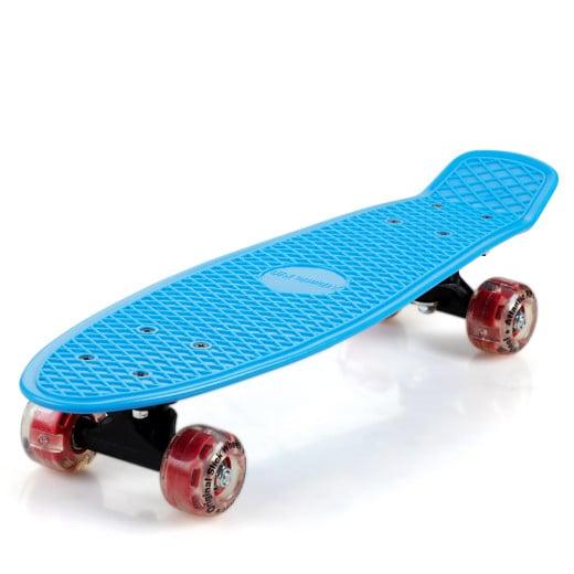 Retro Skateboard Blau/Rot mit LED
