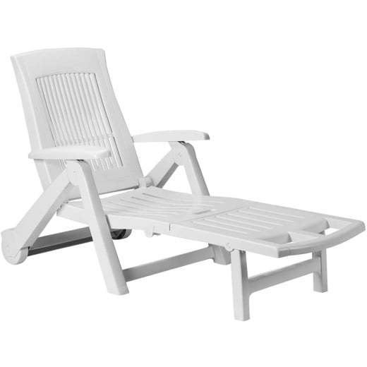 Sonnenliege Kunststoff weiß 195x72x101 cm